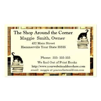 Gato en tarjeta de visita de los libros