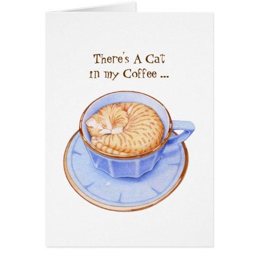 Gato en tarjeta del café
