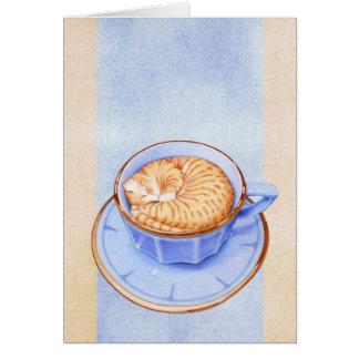 Gato en tarjeta del café 2