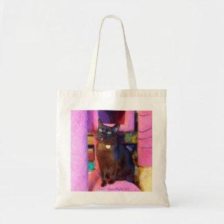 Gato en un árbol rosado gigante del gato bolsa tela barata