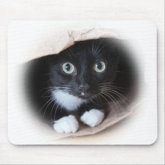 Gato en un bolso alfombrilla de ratón