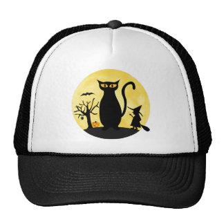 Gato en un gorra de la luna de Halloween