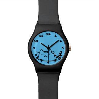 Gato en un pote relojes de pulsera