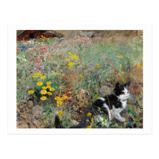 Gato en un prado florido, Bruno Liljefors Postal