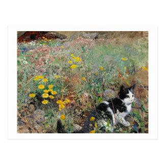 Gato en un prado florido, Bruno Liljefors Tarjetas Postales
