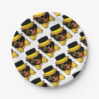 Gato en un sombrero de copa plato de papel de 7 pulgadas