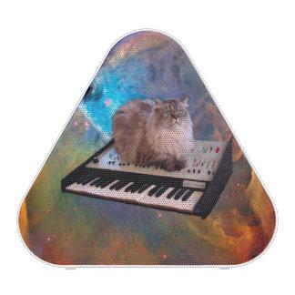 Gato en un teclado en espacio altavoz bluetooth