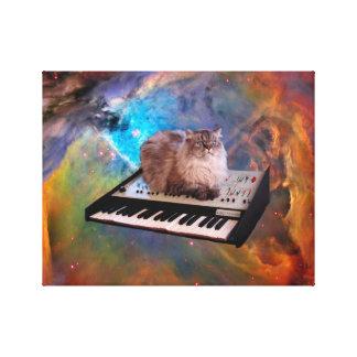 Gato en un teclado en espacio impresión de lienzo