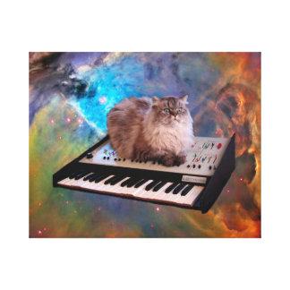 Gato en un teclado en espacio impresión en lienzo estirada
