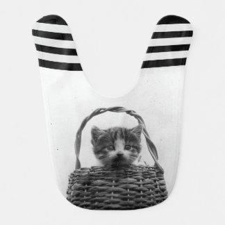 Gato en una foto del vintage de la cesta babero