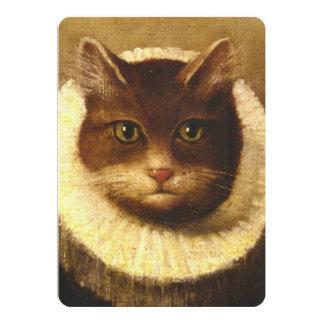 """Gato en una pintura linda del vintage del arte del invitación 5"""" x 7"""""""