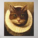 Gato en una pintura linda del vintage del arte del poster