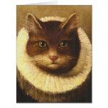 Gato en una pintura linda del vintage del arte del tarjeton