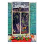 Gato en ventana con Flor-box Felicitación