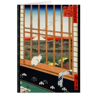 Gato en ventana con la vista de Mt Fuji por Hirosh Tarjetas