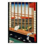 Gato en ventana con la vista de Mt Fuji por Tarjeta De Felicitación