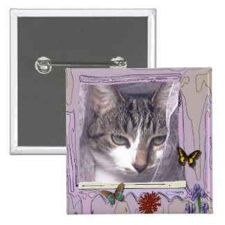 Gato en ventana pin cuadrada 5 cm
