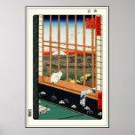 Gato en ventana por el 歌川広重 de Hiroshige Póster