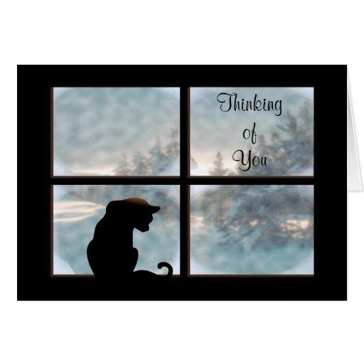 Gato en ventana tarjeta de felicitación