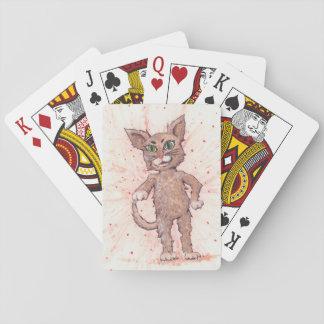 Gato enérgico adorable barajas de cartas