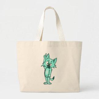 Gato enérgico divertido del dibujo animado bolsa