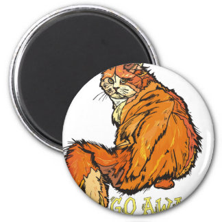 Gato enojado imán redondo 5 cm