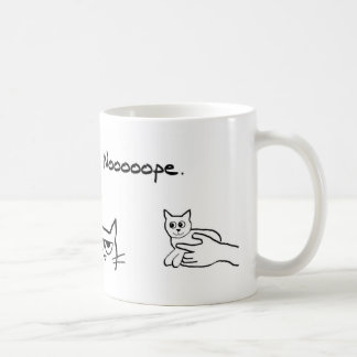 Gato enojado y el nuevo mascota taza básica blanca
