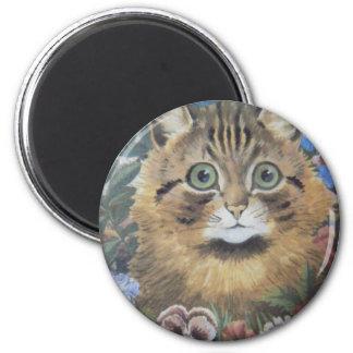 Gato entre las ilustraciones de Louis Wain de las  Imán Redondo 5 Cm