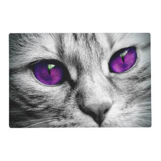 Gato especial con los ojos púrpuras tapete individual