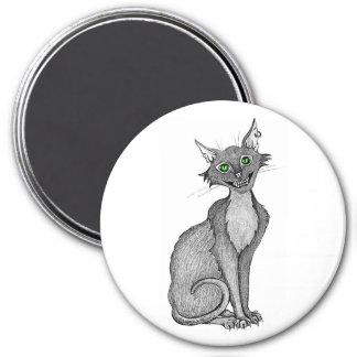 Gato espeluznante de ojos verdes imán redondo 7 cm