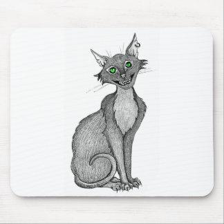 Gato espeluznante de ojos verdes alfombrillas de ratones