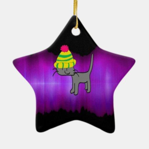 Gato estupendo de la estrella ornamento de reyes magos