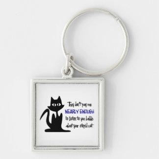 Gato estúpido - diseño divertido del empleado llavero cuadrado plateado