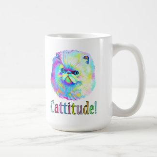 Gato exótico con Catitude en colores Taza Clásica