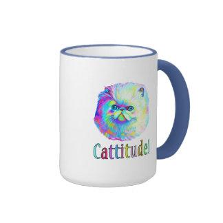 Gato exótico con Catitude en colores Taza De Dos Colores