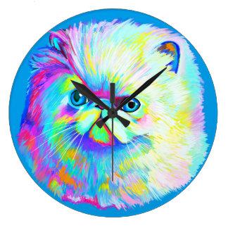Gato exótico en colores reloj redondo grande
