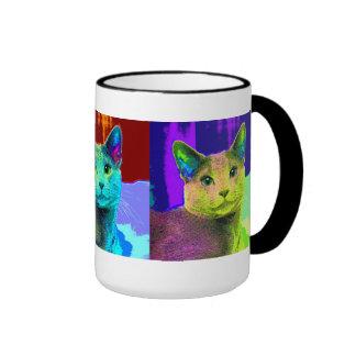 Gato fabuloso del arte pop taza a dos colores