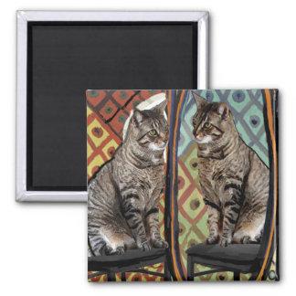 Gato famoso de los gatos de los artistas en un imán cuadrado