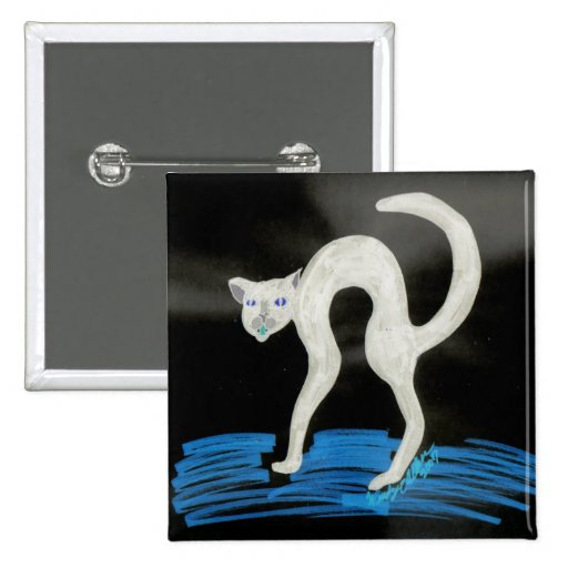 Gato fantasmagórico de Halloween Pin Cuadrada 5 Cm