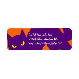 Gato fantasmagórico del gatito de Halloween Etiqueta De Remite