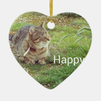 gato feliz adorno navideño de cerámica en forma de corazón