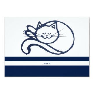 "Gato feliz azul RSVP Invitación 3.5"" X 5"""