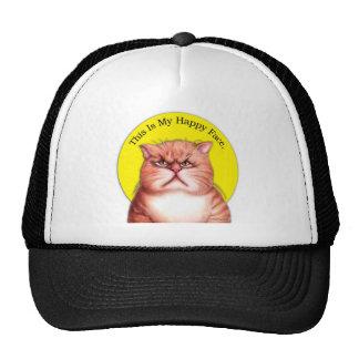 Gato feliz de la cara gorras de camionero