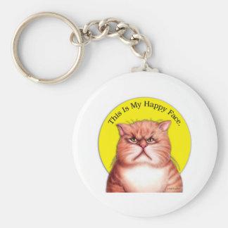 Gato feliz de la cara llavero redondo tipo pin