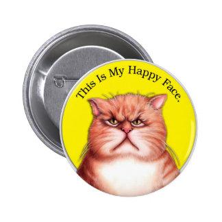 Gato feliz de la cara pin redondo de 2 pulgadas
