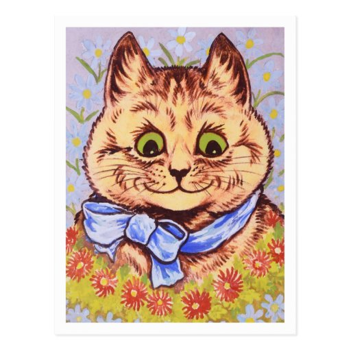 Gato feliz de la flor de Louis Wain Postales
