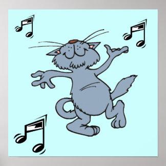 Gato feliz del baile, poster de la música
