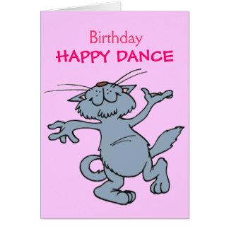 Gato feliz del dibujo animado del baile del feliz tarjeta de felicitación