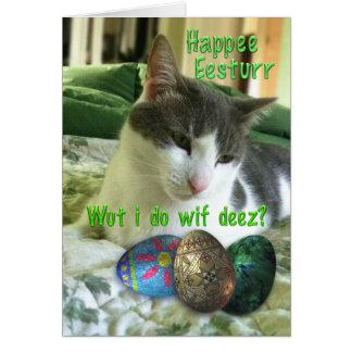 Gato feliz del gatito de Pascua con los huevos Tarjetón