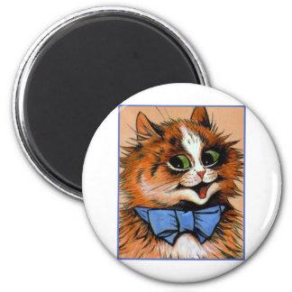 Gato feliz (imagen del vintage) imán redondo 5 cm